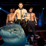 OakMonster.com - Shirtless Channing Tatum holding a puppy riding a shark